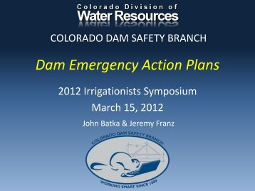 Dam Emergency Action Plans - Colorado Division of Water Resources