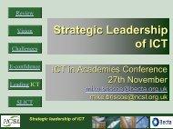 Strategic Leadership of ICT - Wigan Schools Online