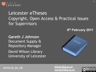 Copyright LRA and PHD Thesis - Supervisors - University of Leicester