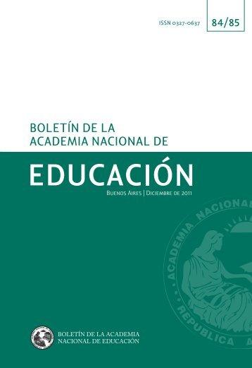 Número 84/85 (diciembre 2011) - Academia Nacional de Educación