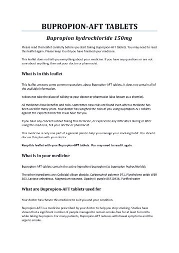 BUPROPION-AFT TABLETS - Medsafe