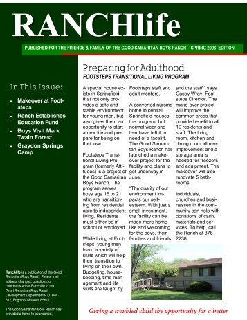 RANCHlife Newsletter – Spring 2006 - Good Samaritan Boys Ranch