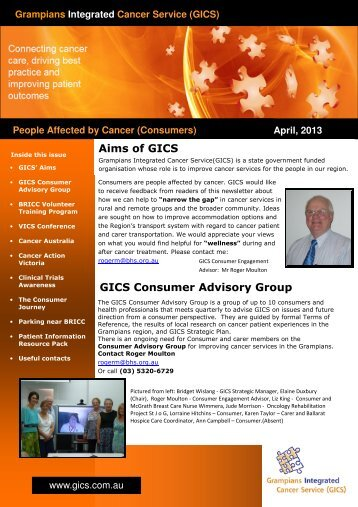 Consumer Newsletter - April 2013 - Grampians Integrated Cancer ...