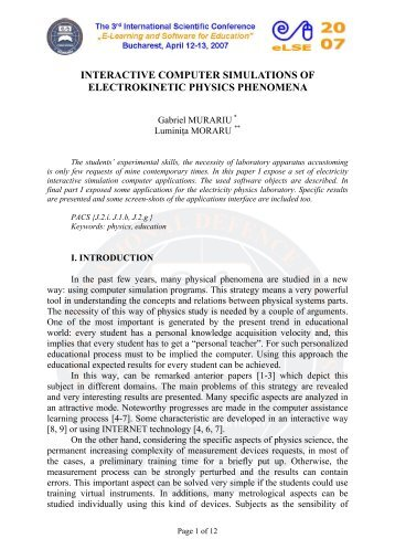 interactive computer simulations of electrokinetic physics phenomena
