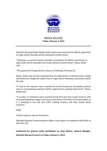 MEDIA RELEASE - Waratah-Wynyard Council