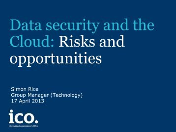 Data security and the Cloud: Risks and opportunities - Isaca