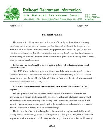 Dual Benefit Payments - U.S. Railroad Retirement Board
