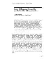Emma Goldman: passion, politics, and the theatrics of free expression