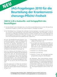 JAG-Fragebogen 2010 für die Beurteilung der ... - DATAKONTEXT