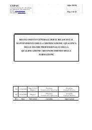 regolamento generale per il rilascio e il mantenimento della ... - Cepas