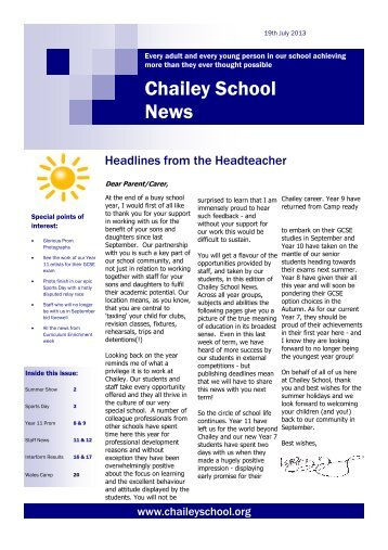 Term 6, Academic Year 2012-13, Summer - Chailey School...