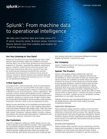 Splunk®: From machine data to operational intelligence
