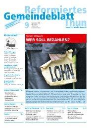 reformiertes gemeindeblatt september 2012 - Reformierte Kirche Thun