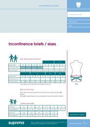 Incontinence briefs / sizes - Suprima GmbH