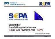 SEPA Unterlagen in einer Präsentation - Volksbank Delbrück ...