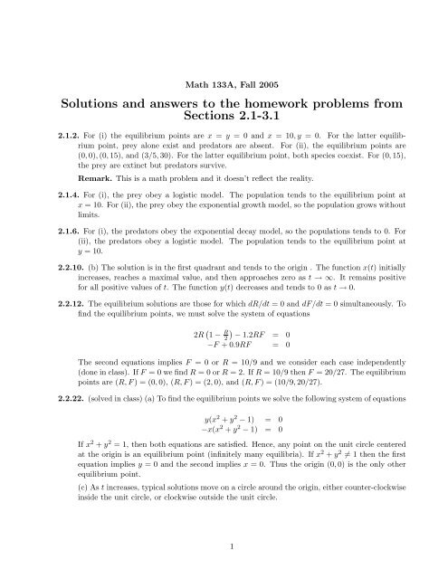 Solutions To The Homework Problems From Sections 2 1 3 1 Pdf