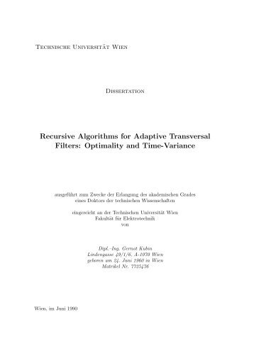 Recursive Algorithms for Adaptive Transversal Filters: Optimality and ...