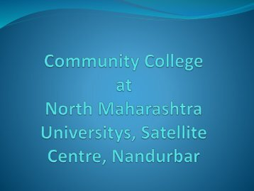 Community College at North Maharashtra University, Jalgaon