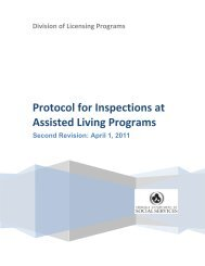 Protocol for Inspections at Assisted Living Programs - Virginia ...