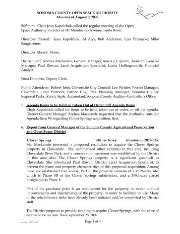 Page 1 of 4 SONOMA COUNTY OPEN SPACE AUTHORITY Minutes ...