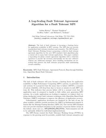 A Log-Scaling Fault Tolerant Agreement Algorithm for a ... - Open MPI