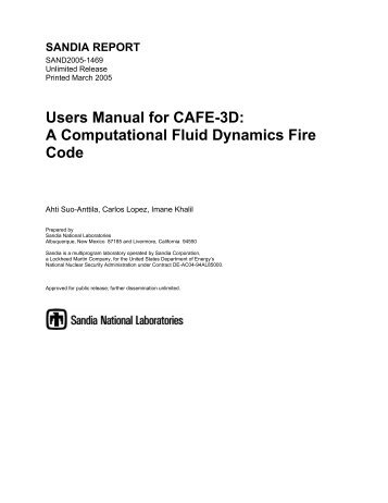 Users Manual for CAFE-3D: A Computational Fluid Dynamics Fire ...