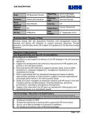 JOB DESCRIPTION Role: HR Business Partner Reporting to ...