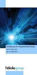 Einladung zur Hauptversammlung - Dr. Hönle AG