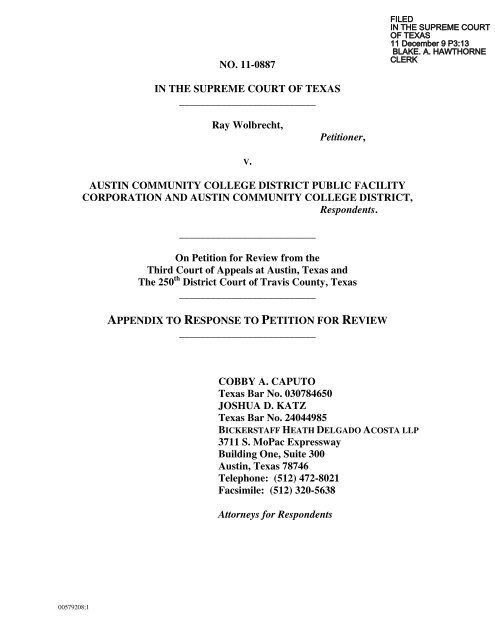 Appendix To Response To Petition For Review Supreme Court