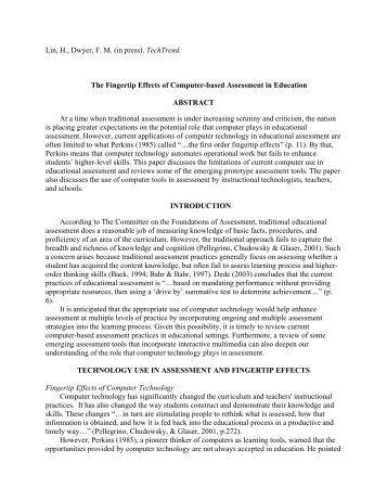 The Fingertip Effects of Computer-based Assessment in Education