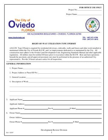 Development Review Division 1 - City of Oviedo