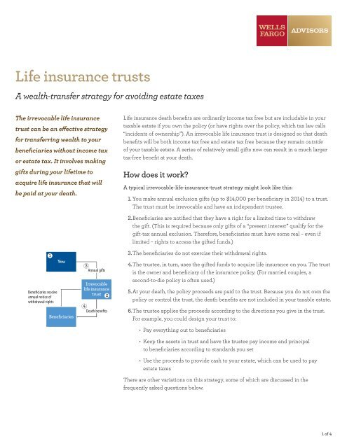 Life Insurance Trusts Saf Wellsfargoadv Wells Fargo Advisors