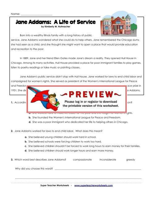 Jane Addams A Life Of Service Super Teacher Worksheets