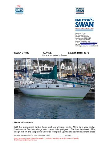 Specification Swan 37.013 Alvine - NAutor's Swan UK
