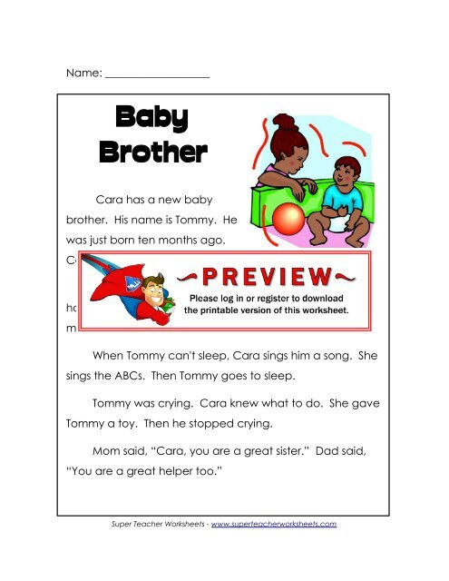 Baby Brother - Super Teacher Worksheets