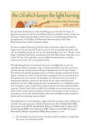 Dit jaar heeft de Federation of the Sufi Message van 5-9 april 2011 ...