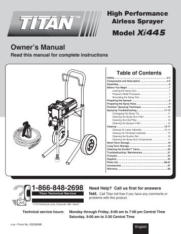 Owner's Manual 1-866-848-2698 Model Xi445