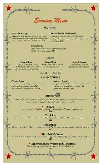Evening Menu - Saratoga Resort and Spa