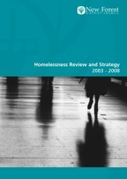 Homelessness Review and Strategy 2003 - 2008 - New Forest ...