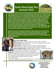 South Africa Study Tour Summer 2012 - Environmental Education in ...