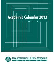 Academic Calendar 2013 Bangladesh Institute of Bank Management