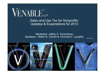 Sales and Use Tax for Nonprofits: Updates ... - Venable LLP