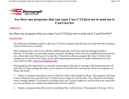 Programs that can cause Case CATalyst not to send     - Stenograph