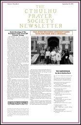 CTHULHU PRAYER SOCIETY NEWSLETTER - Poet's Press