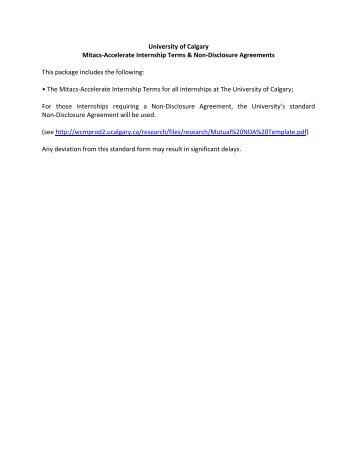 University of Calgary Mitacs-Accelerate Internship Terms & Non ...