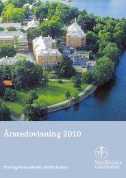 Årsredovisning 2010 - Företagsekonomiska institutionen ...