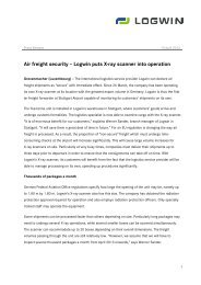 Air freight security – Logwin puts X-ray scanner into operation