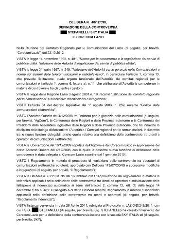 Delibera 48/12/CRL - Corecom Lazio