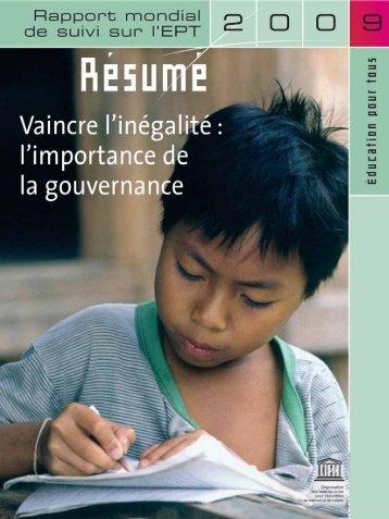 l'importance de la gouvernance, rapport mondial de suivi ... - Prisme