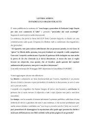 Lettera Aperta di Padre Luigi Ferlauto - Oasi Città Aperta